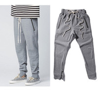 Cotton best gods - 2017 Best Version Fear Of God FOG Justin Bieber side zipper casual sweatpants men hiphop jogger pants cotton Paris Kanye West