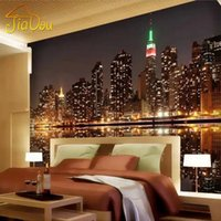 Wholesale High Quality Custom 3d Photo Wallpaper City Night View Living Room Tv Backdrop Home Decor Mural Wallpaper For Bedroom Walls 3d
