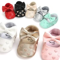 Wholesale 2017 infant Bow Heart shaped shoes toddler Soft bottom Walkers PU Newborn Baby First Walkers