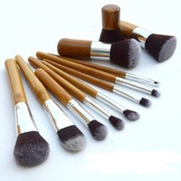 bamboo wood products - Bamboo handle makeup brush Cosmetic Brush set Bamboo Handle Synthetic Makeup Brushes Kit Hot selling Product L