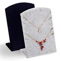 Venta al por mayor 2Pcs Velvet collar de pulsera de la cadena de joyería de exhibición de la joyería del tablero de la placa del soporte con 10 ranuras