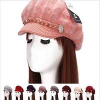 Casual beaded beanie - Fashion Autumn Winter Beanies Knit Hats For Women Rabbit Fur Velvet Warm Beaded rivet Pearl Ladies Female Beret Bonnets