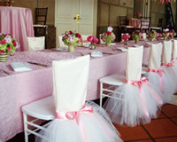 Wholesale Custom Made Ivory Tuffle Pink Ribbon Chair Covers Vintage Romantic Chair Sashes Beautiful Fashion Wedding Decorations