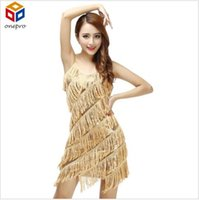 Wholesale Woman flapper fringe s gold vintage great gatsby sequin party dress plus size beautiful cheap dress summer slip sexy latin dress