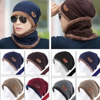 Wholesale hat set men fashion winter hat scarf set men snapback beanies Thick wool knitted cap male hat scarf suit