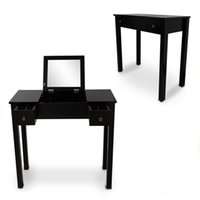 Wholesale Black Vanity Table Makeup Desk Jewelry Comsetic Storage Organizer with Dressing Mirror and Drawers USA Stock
