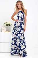 Wholesale 2017 spring new print sexy halter dresses for women maxi dresses summer causal long plus size dresses women clothes1512
