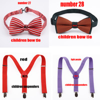 Wholesale children red suspenders light purple suspenders children bow tie number number children gift retail and