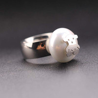 Band Rings african bear - Women Female gold silver Fashion Spain Bear Pearl Ring Stainless Steel Animal Rings Anillos