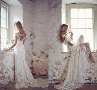 Wholesale Lace Wedding Dresses Deep V Neck Off The Shoulder Cap Sleeves Backless Beach Wedding Gowns Boho Bridal Dresses Sweep Train