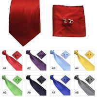 silk tie and handkerchief - Woven Silk Tie Set Cufflinks and Handkerchief Gift Set Hanky For Wedding Party Business Neck Ties