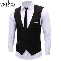 Wholesale Plus Size XL Vest Men Spring Slim Brand Men s Slim Dress Business Suit Vest Men Gilet Colete Fashion Waistcoats RHY1110