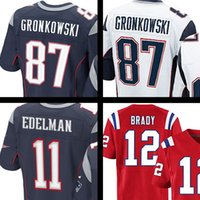 Wholesale 2017 Tom Brady Jersey Rob Gronkowski Julian Edelman Stitched Blue white red Elite Jersey embroidery shirt