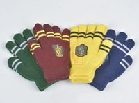 Wholesale Winter Warm Harry Potter Glove Unisex Thickened Double Layer Knitted Wool Gryffindor Gloves Slytherin Ravenclaw Hufflepuff