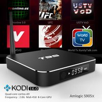 Wholesale T95 Quad Core TV Box HDMI G G Amlogic S905X Android K Media Player Kodi Fully Loaded TV Channels Internet Kodi Box