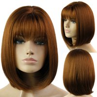 Wholesale 14 quot Short Bob Straight Hair with Neat Bangs Wig