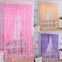 Wholesale New Floral Bedroom Livingroom Windows Scarf Sheer Floral Curtain Panel Voile