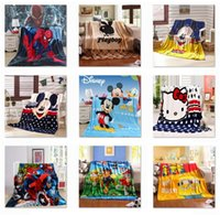 baby blankets wholesale - 50 Style cm Coral Fleece Blankets Cartoon Baby Blankets Bedding swaddling Mickey Spongbob Ninja Turtles Fozen superman Blankets B1055