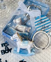 baby gifts keychains - 2 Clors Baby Shower Favors Party gifts Keychains for Guest Girls and Boys Hobbyhorse Key Chain Gift Boxes for Baby Shower