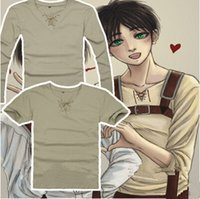 Wholesale NEW HOT Attack On Titan Cosplay Anime Eren Jaeger T shirt Long sleeve short sleeve T shirt Exquisite Workmanship Two Optional