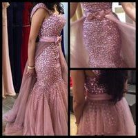 apple form - 2017 Luxurious Mermaid Arabic Evening Dresses Pink Major Beaading Tulle Prom Dresses Removable Train Form Party Gowns With Bow
