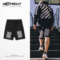 Wholesale Men s Shorts Fashion Brand Hip hop Short Pants Men s Shark Head Loves Stripe Beach Shorts Trousers Flight Zip Pants With High Quality