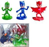 Wholesale 3pcs set PJMASKS Action Figure Toys cm Catboy Owlette Gekko Cloak Plastic Dolls Christmas Gift for Boy For Christmas free DHL