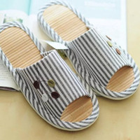 bamboo slippers - Good quality bamboo summer stripe bottom couple home shoes cool slippers advanced anti skid slippers PU bottom