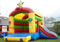 Wholesale indoor playground colorful inflatable bouncer slide combo jumping bouncy house for kids
