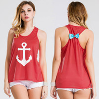 Wholesale 100 Cotton fashion clothing apparel tank tops Plus Size Summer Sport Anchor Vest Tanks Camis Blouse Women Tops Sleeveless Bowknot Back