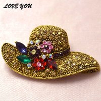 antique hat pins - 2 colors big hat rhinestone brooch vintage flower pins and brooches antique gold plated fashion jewelry scarf buckle jewelry