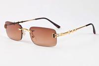 Cool Oculos De Sol High Qaulity Metal Frame Gafas de sol Mujer Marca Diseñador Buffalo Horn Gafas de conducción de gafas 3 estrellas marrón azul claro