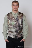 Wholesale 2017 Camo Tux Groom Jacket With Vest Long Sleeve Free Custom Made Realtree Camouflage Suit Match Camo Outwear Groom Tuedos