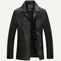 Wholesale Leather Jacket Men Soft PU Leather Jacket Male Business casual Coats Male Jaqueta Masculinas Inverno Couro Plus size XXXL XL
