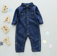 Wholesale Hug Me Baby Jumpsuits Toddler Girls Boys Clothing Spring Autumn Korean Fashion Long Sleeve Denim Jumpsuits EC