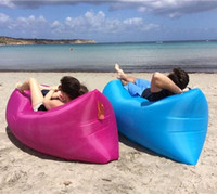 Wholesale Newest Fast Inflatable Air Sleeping Bag Waterproof Lazy Sofa Bed Festival Camping Hiking Travel Hangout Beach Bag Bed Camping Banana Couch