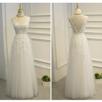 Real Photos A-Line V-Neck 2017 White A-Line Long Prom Dresses V-Neck Sleeveless Floor-Length Sexy Backless Appliques Sequins Beading Sweet Evening Gowns