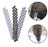 Wholesale Women Lady French Hair Braiding Tool Braider Roller Hook With Magic Hair Twist Styling Bun Maker Hair Band Accessories DHL free ship