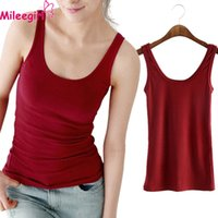 Wholesale Ladies Camisoles Colors - Wholesale-Mileegirl Women Sexy Casual Tank Tops,5 Colors Solid Soft Sleeveless U Croptops,Vest Camisole Top Cropped For Ladies