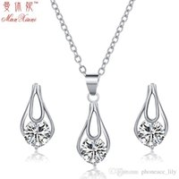 Wholesale 2016 New Luxury Silver Plated Fashion Wedding Bride Prom Crystal Earrings Necklace Set CZ Rhinestone Engagement Beautiful Jewelry Set