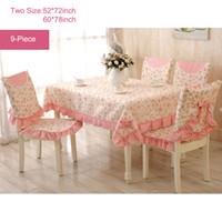 Wholesale 9 Piece Romantic Rural Table Cloth Tea Table Cloth Chair Cloth Chair Cushion Lace Flower Rose Bow Tablecloth Sets Pink