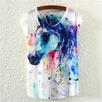 beautiful horse paintings - NEW Printing ink painting horses beautiful summer short sleeve T shirt Round collar women t shirt tops