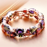 Wholesale 2016 Hot Fashion Colorful Crystal Bracelet Beautiful AAA Cubic Zirconia Fashion Bangle Rose Gold Plated Hand Chain for Women