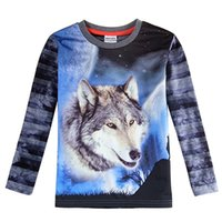 Wholesale The blue boy long sleeved T shirt wolf pattern