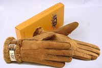 Wholesale Ug Brand Womens Gloves Winter Warmer Sheepskin Leather Gloves Brown Black Female Curly Style Wool Fur Golves Cheap Australia Brand Ug Golves