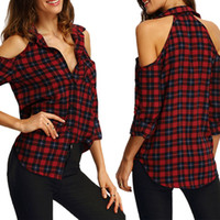 Wholesale Ladies Blouses For Spring - 2016112138 Womens Blouses For Spring Summer Ladies 2016 Casual Long Sleeve Plaid Red V-neck Open Shoulder Checked Blouse