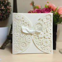 Wholesale 2 Color Romantic Wedding Party Invitation Card Delicate Carved Flower Pattern Hollow Out Gift Card Wedding Supplies WA1708