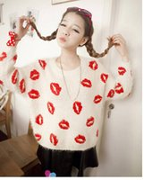 Wholesale pc new sweaters Mohair Super beauty lips prints thickening render unlined upper garment pullovers four colors