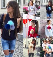 balls jog - Women sweater coat fashion Cute fur ball Ice cream printing Hoodies Round neck long sleeve Sweatshirt Plus velvet jogging pullovers