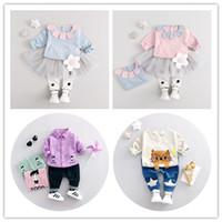 al por mayor material de modelado-La blusa y los pantalones del juego de los niños lindos del patrón de la historieta del gato arropan el vestido material del bebé del algodón 1-3years fija el envío libre